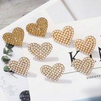 Imitation Pearls Love Heart Stud Earring for Women Sweet Cute Geometric Earrings Wedding Jewelry