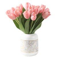 Fleurs artificielles Tulipe Faux fleur Bouquet Véritable Toux Tulipes pour la décoration de mariage à domicile 35cm 9 Couleur GWE8221