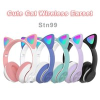 Wireless Headset Lovely Cat Earphone LED Headphones For iPhone Samsung PC Laptop
