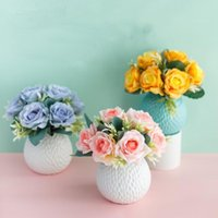 Decorative Flowers & Wreaths B-LIFE Artificial Ivory Rose Flowerl Arrangement In Ceramic Vase For Wedding Home Office Decoration