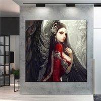 Full Square Round Diamond Embroidery 5D DIY Diamond Painting Black wings angel Cross Stitch kit mosaic art home decoration