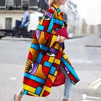 Elegante Geometrie Drucken Langer Trenchcoat Herbst Winter Flare Sleeve Jacke Frauen Dame 5XL Time-Down-Kragen Windjacke Oberbekleidung