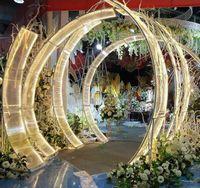 Lujo Hierro Sunshine Tablero Boda Fiesta Decoración Arcos Grand Evento Fondos de Fondo Props T-Stage Large Arch Road Play Flower Stand Stand