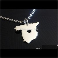 Pendant & Pendants Jewelry Drop Delivery 2021 10Pcs- European Country Map Necklace Charm Espanha Spanish Pride I Heart Love Capital Of Spain
