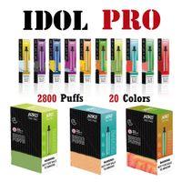 Hzko Idol Pro Disponible Vape E Cigarrillos 2800 Puffs 1500 Batería Pre-cargada 9ml 20 colores Dispositivo 5% Barra de soplo 100% original