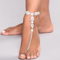 Anklets Sparkling Crystal Anklet Beach Accessories Fashion Trend Water Drop Fingerlink Party Wedding