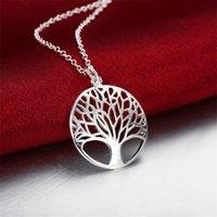 Árbol caliente de la vida cristalino redondo pequeño collar colgante 925 plata esterlina bijoux collier elegante mujer joyería regalo dropshipping 1584 v2