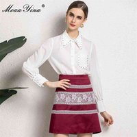 Sets Summer Women's Lantern Sleeve Elegant White Blouse and High waist Print Red Skirt Two-piece suit 210512