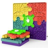 Formas de rompecabezas Fidget Tablero de ajedrez Push Bubble Toy Party Party Favor 10.62 pulgadas Silicona Stress Relefante Dimple Sensor Juguetes Seaway HWF9889