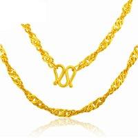 Collier en or jaune solide 24K Chaîne de l'onde d'eau de la dame 4.41G chaînes