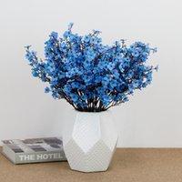 Silk Gypsophila Artificial Flowers for Decoration Home Plastic Stem Bride Wedding Bouquet Mariage Cherry Blossom Fake Flower 2147 V2