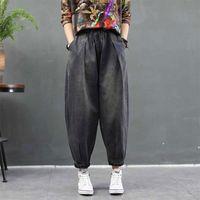 Jeans de mujer Autumn Arts Estilo Mujeres sueltas Casual Femme Elástico Cintura Algodón Denim Harem Pantalones Vintage Jean Pantalones M330 1BDX