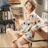 Thick Warm Flannel Pajamas Sets Women Sleepwear Winter Pajama Set Long Sleeve Full Trousers Female pyjama Girl