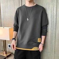 Men's Hoodies & Sweatshirts Autumn Tops Men Korean Fashion Patchwork Fake Two Piece Long Sleeve Shirts Street Wear Crewneck Shirt