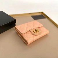 Sacs de soirée 2021 Portefeuille Femme Caviar Cuir Brief Paragraphe The Metal Button Card Package Cash pour trente pour cent IKKB