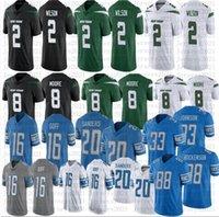 Homens futebol 20 Barry Sanders 16 Jared Goff 88 T.J. Hockenson 2 Zach Wilson 8 Elijah Moore Stitched Jerseys
