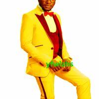 Custom-made One Button Groomsmen Peak Lapel Groom Tuxedos Men Suits Wedding Prom Dinner Man Blazer(Jacket+Pants+Tie+Vest) W883