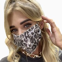 Leopard Sequin Face Masks Reusable Black Bling Glitter Rhinestone Party Mask for Adults Women Decoration Club Charm Jewlery 9 Colors