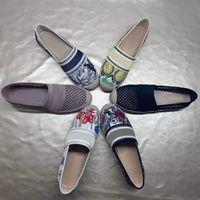 Tasarımcılar Kadınlar Saman Rahat Ayakkabılar Mesh Nakış Loafer'lar Jüt Soled Sandalet Baskı Ekleme Sneakers Düz Muller Balıkçı Ayakkabı 35-42