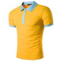 Поло Swagwhat летние с короткими рукавами мужчины отключить воротник мода тонкий повседневный дышащий сплошной цвет деловой рубашки