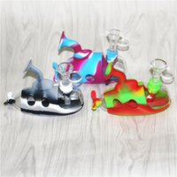 Submarine Colorful Hookahs Silicone Bong Mini Silicon Bongs Smoking Water Pipes with downstem & glass bowls