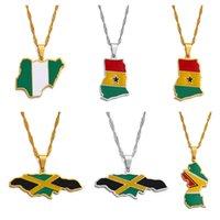 Yutong Anniyo bandeiras coloridas Nigéria Gana Jamaica Guiana Mapas de aço inoxidável esmalte pingente colares nacionais jóias # 122921