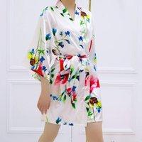 Ev Giymek Robe Pijama Kadın Yaz Bitki Çiçek Baskı Gece Elbisesi Bornoz Net Kırmızı Moda Gecelikler Pijamas Kadınlar 2021 Kadın Sleepve