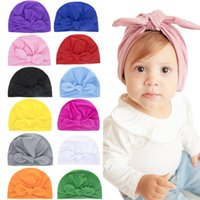 15736 Europe Fashion Infant Baby Hat Bunny Ears Turban Knot Headwrap Hats Kids Cap Beanies 12 Colors