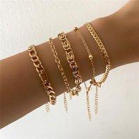 Link, Chain WUKALO 5 Pcs Set Punk Gold Color Thick Bracelet Female Bohemian Geometric Set Jewelry Girl Party Gift