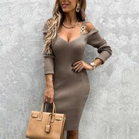 فستان المرأة حقيبة الورك قبالة الكتف الخامس الرقبة قلادة معدنية ضئيلة