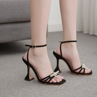 Sandals Women Shoes Gladiator Sexy High Heels Summer Party Dress Bow Water Drill Buckle Pumps Sandalias