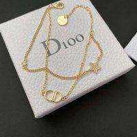 Link Dijia D Home CD Letter Estilo Lady Diamond Star Dupla pulseira simples