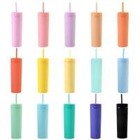 16 унций 16 Цветов Акриловый тонкий тумблер с крышкой соломинки пластиковые двойные настенные молочные кофейные чашки матовые конфеты цвет тонкий чашка бутылок для путешествий