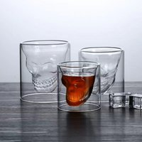 25-250ml Double glass cup Transparent skull wine milk whisky tea coffee water mug drink-glass reusable Tool bar accessories