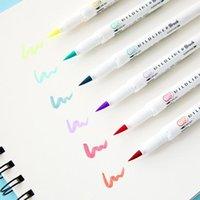 Highlighters 2021 5 Colors Zebra MildLiner Brush Pen Set WFT8 Double Sided Water-based Highlighter Marker Journal Supplies