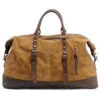 Duffel Bags Vintage Canvas Leather Men'S Travel Bag Carry-On Large-Capacity Handbag
