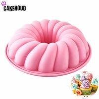 Bakmögel CakeHoud 1pcs Silikon Spiral Mönster Bundt Pan Chiffon Savarin Cake Mold Mousse Brownie Dessert Dekorationsverktyg