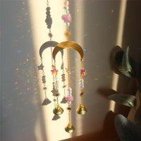 Decorativo Objetos Decoramentos Cristal Windchime Sol Luz Aurora Catcher Star Lua Pingente Prismas Arco-íris Vento Chime Jardim Janela Casamento