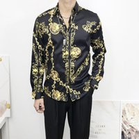 Harajuku luxury Medusa shirts Fashion hawaiian Retro floral print silk shirt chemise Mens long sleeve designer dress shirts
