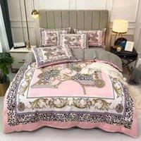 Bettwäsche-Sets Baumwoll gewebt Tier-Streifen-Buchstaben Königin-Größe Europäische Stil Kissenbezüge-Blatt Soft Quilt Bettdecke Bettdecken