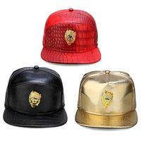 Luxury Brand Caps Lion badge fashion hip hop caps PU Leather sports hats baseball women men fitted snapback