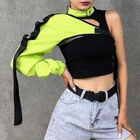 Women's T-Shirt Reflective One Shoulder Top Harajuku Punk Long Sleeve Women Irregular Cargo T Shirts Female Slim Clothing