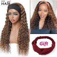 Ombre Deep Wave Headband Wig Blonde Remy Peruvian Human Hair Curly Wigs For Women Color p 4 27