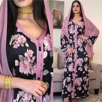 Árabe Muçulmano Abaya Floral Impressão étnica Vintage Vintage Vestido Longo Feminino Kaftan V-Neck Marroquino Eid Ramadan Roupa Islâmica Maxi Robe