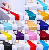새틴 테이블 주자 웨딩 연회 파티 이벤트 장식 테이블 주자 베이비 샤워 생일 파티 케이크 테이블 장식 OWB8423