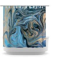 Мраморный занавес для душа с чиликой синий смешанный золотой треснутые линии шаблон ванна шторы абстрактные арт декор ванной 72x72inch