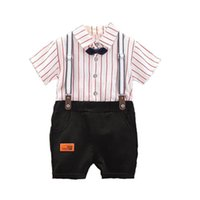 Boys Clothing Sets Baby Suits Toddler Clothes Kids Wear Summer Cotton Striped bow tie Short Sleeve Shirts Suspenders Shorts Pants 2Pcs B7268