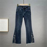 Women's Jeans Rhinestone Split For Women 2021 Autumn High Waist Cotton Stretch Wide Leg Pants Elegant Woman Jean Ladies Dneim