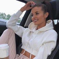 Women's Hoodies & Sweatshirts Drawstring Hooded Crop Top Sweatshirt Solid Long Sleeve Female Short 2021 Autumn Fashion Ladies Tops Clothes