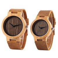 Relógios de pulso Handmade Wood Lover Os Relógios Minimalistas Homens Mulheres Top Bambu De Madeira Quartz-Assista Brown Genuine Leather Band para Casal Creative